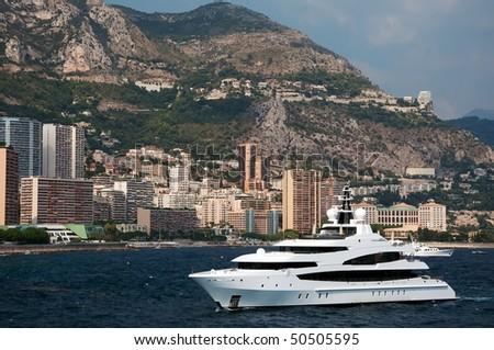 Panoramic view of Monaco harbour. French Riviera, Mediterranean Sea ...