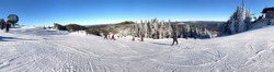 Panoramic view of Mont Tremblant summit in winter ski season, Quebec, Canada