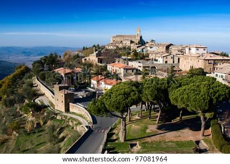 Panoramic view of Montalcino, Tuscany. Italy.