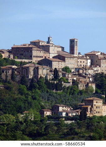 Panoramic View Of Montepulciano ,Tuscany, Italy.