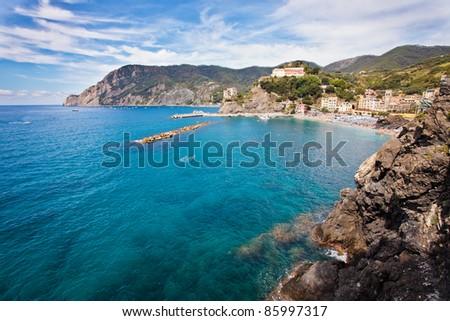 Panoramic view of Monterosso. Small village of Cinque Terre on the mediterranean sea - stock photo