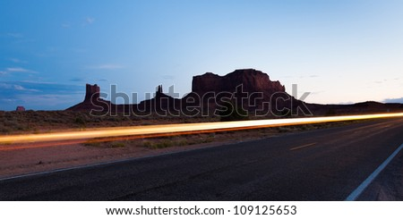 Panoramic view of  Monument Valley at sunset, Arizona - USA