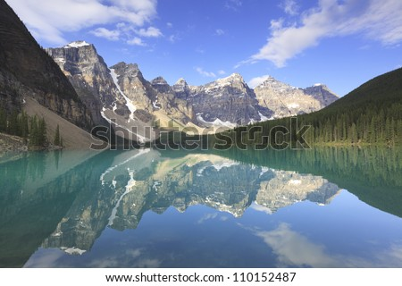 Panoramic view of Moraine Lake in Canadian Rockies