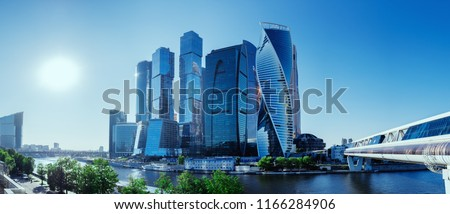 Panoramic view of Moscow-City and Moscow River. International business center in the daytime #1166284906