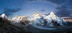 Panoramic view of Mount Everest, Lhotse and Nuptse from Pumori base camp - way to Mount Everest base camp, Khumbu valley, Sagarmatha national park, Nepal Himalayas mountains evening or nig view