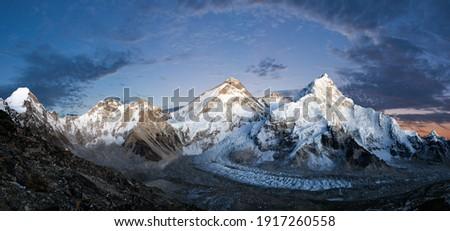 Panoramic view of Mount Everest, Lhotse and Nuptse from Pumori base camp - way to Mount Everest base camp, Khumbu valley, Sagarmatha national park, Nepal Himalayas mountains evening or nig view