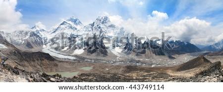 panoramic view of Mount Everest with beautiful sky and Khumbu Glacier - way to Everest base camp, Khumbu valley, Sagarmatha national park, Nepal