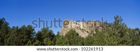 Panoramic view of Mount Rushmore - stock photo