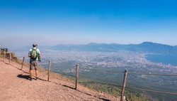 Panoramic view of Mount Vesuvius and Gulf of Naples on a summer hazy day, Campania, Italy, Europe