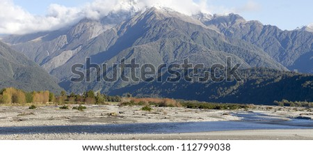 Panoramic view of Mountain Hercules and Poerua river Southern Alps mountain valleys New Zealand