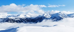 Panoramic view of mountains near Brianson, Serre Chevalier resort, France. Ski resort landscape on clear sunny day. Mountain ski resort. Snow slope. Snowy mountains. Winter vacation. Panorama, banner.