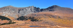 Panoramic view of Mt Bierstadt at Guanella pass in Colorado