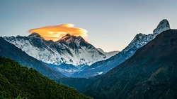 Panoramic view of Mt Everest, Lhotse and Ama Dablam peaks from Namche view point. Panorama of highest mountains in Nepal during Everest Base Camp trek.