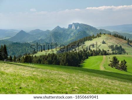 Panoramic view of Mt Three Crowns (Trzy Korony) seen from Mt Durbaszka, Pieniny National Park, Poland Zdjęcia stock ©