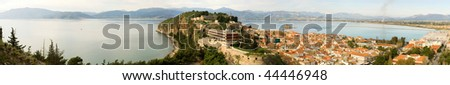 Panoramic view of Nafplion, a Greek town at Peloponnese peninsula. Photo taken from the Palamidi castle