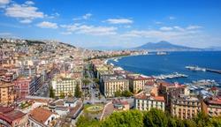 Panoramic view of Naples city, Mount Vesuvius and gulf of Napoli, Mediterranean sea, Italy