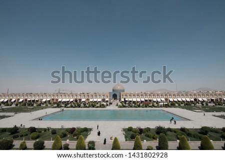 Panoramic view of Naqsh-e Jahan Square from Ali Qapu Palace ,Esfahan, Iran