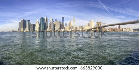 Panoramic view of New York City from Brooklyn Bridge Park. #663829000