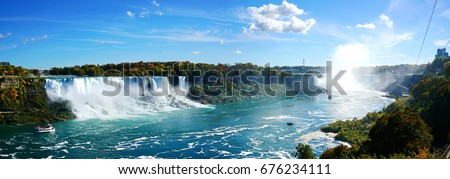 Panoramic view of  Niagara falls #676234111