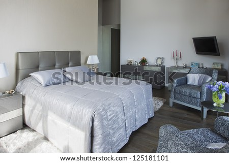 panoramic view of nice cozy bedroom