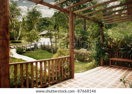 panoramic view of nice summer terrace in tropic environment