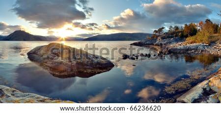 Panoramic view of norwegian fjord. - stock photo