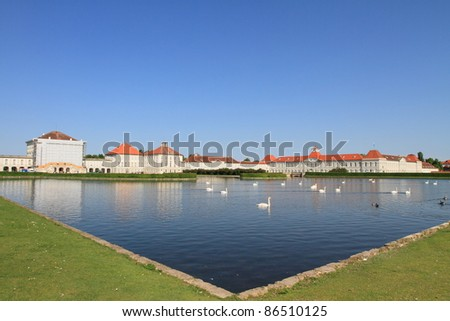 panoramic view of Nymphenburg palace and lake in Munich, Germany