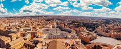 Panoramic view of old aerial city Rome from Saint Peters Square in Vatican.