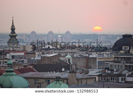 Panoramic view of old Belgrade during sunset in Belgrade, Serbia
