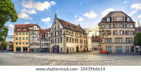 Panoramic view of old buildings on Marienplatz square on the center of Ravensburg, Baden-Wurttemberg, Germany