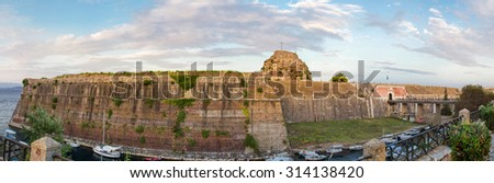 Panoramic view of old fortress walls of Kerkyra city, Corfu, Greece.