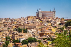 Panoramic view of  old historical center of the city Toledo, Spain