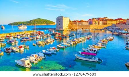 Panoramic view of Old port of Dubrovnik at sundown, Croatia