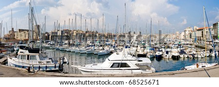 Panoramic view of Old Port of Marseille