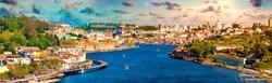 Panoramic view of Old Porto.Oporto city and Ribeira over Douro river from Vila Nova de Gaia, Portugal