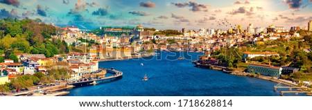 Panoramic view of Old Porto.Oporto city and Ribeira over Douro river from Vila Nova de Gaia, Portugal Stock foto ©
