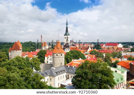 Panoramic view of Old Tallinn Lower town in summer. Estonia