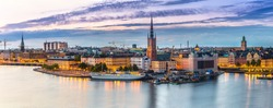 Panoramic view of Old Town (Gamla Stan) in Stockholm, Sweden in a summer night