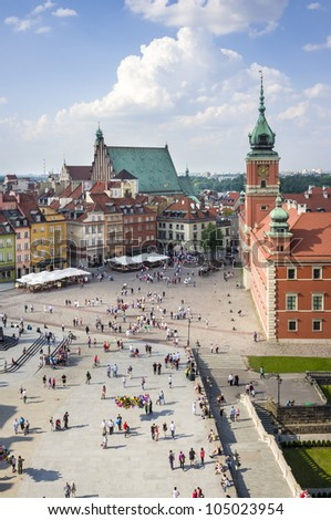 Panoramic view of Old Town in Warsaw, Poland