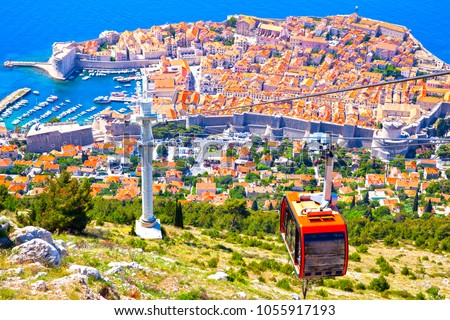 Panoramic view of Old town of Dubrovnik from hill, Croatia