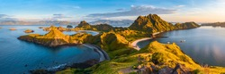 Panoramic view of Padar Island in a morning from Komodo Island National Park, Labuan Bajo, Flores, Indonesia