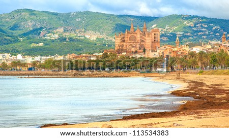 Panoramic view of Palma beach, Mallorca, Spain