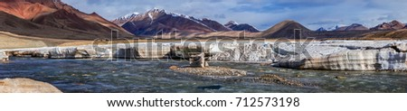 Panoramic View of Pamir Mountain Range at Karart River Sources from Karakul Lake near China Border, Northeastern of Tajikistan.