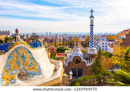 Panoramic view of Park Guell in Barcelona, Catalunya Spain. #1269984970