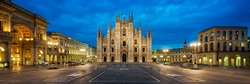 Panoramic view of Piazza del Duomo (Cathedral Square) at night, Milan, Italy