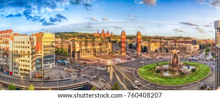 Panoramic view of Placa d'Espanya. This iconic square is located at the foot of Montjuic and it's a major landmark in Barcelona, Catalonia, Spain