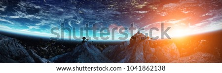 Stock Photo Panoramic view of planet Earth with asteroids flying close in space 3D rendering elements of this image furnished by NASA