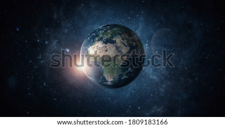 Panoramic view of planet earth with copy space. Elements are furnished by nasa