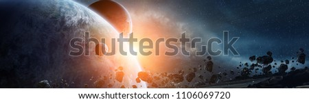 Panoramic view of planets in distant solar system in space 3D rendering elements of this image furnished by NASA #1106069720