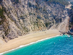 Panoramic view of Platia ammos in Lixouri, Kefalonia, Greece. An impressive, secluded beach accessible only by boat